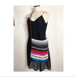 Mexican woven tapestry bohemian purse bag
